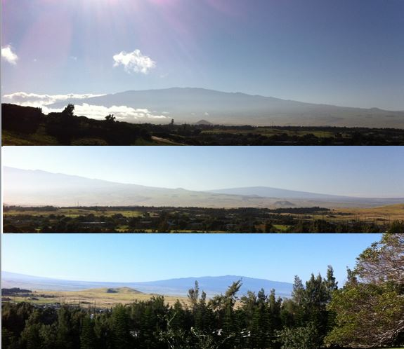 On a clear day, from Kohala Mountain, you can see three of the other four volcanoes: Mauna Kea - top; Mauna Loa - distant middle; Hualalai - bottom.