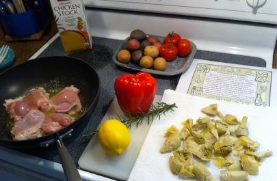 Lemon chicken and artichokes