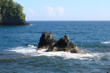 twin rocks in bay