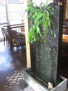 water feature at Lotus Cafe