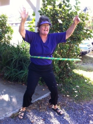I hula the hoop for the first time in my life! Oh joy! Oh rapture!