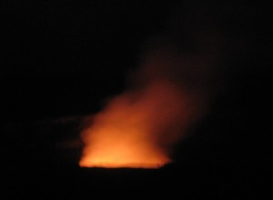 The glow of the crater by night - Pele at play.