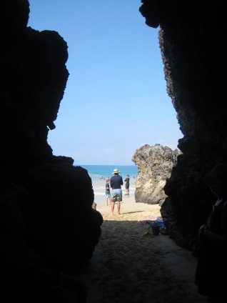 Hapuna Beach lava cave from the inside.