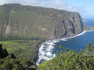 White frothy waves on black lava sand beach at Waipio Valley