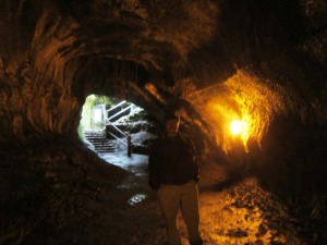 Tom at the far end of the Thurston Lava Tube