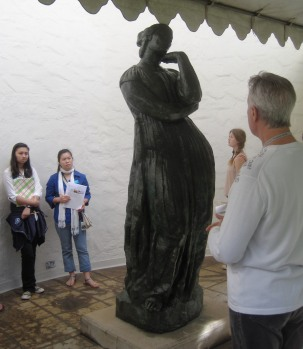 central courtyard statue and docent