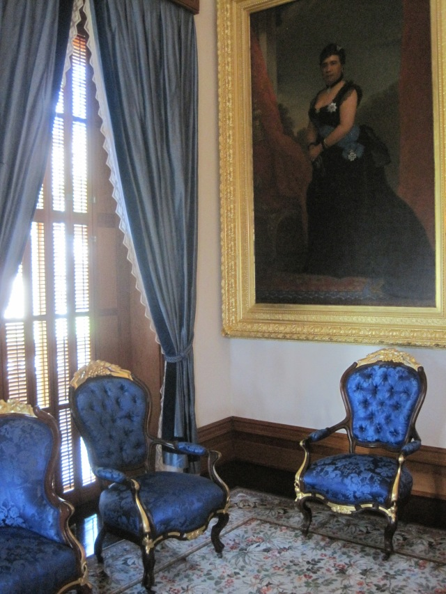 Portrait of Queen Lili'uokalani in Blue Room at Iolani Palace