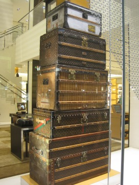 Stack of steamer trunks at Louis Vuitton at Ala Moana Center