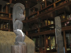 The gods Ku and Kane in Hawaiian Hall at Bishops Museum. Notice extensive koa woodwork..