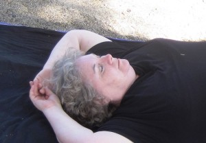 Julia in Shavasana - bird poop on shirt closeup