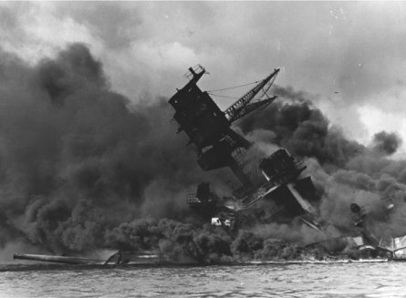 The USS Arizona, sinking at Pearl Harbor. Photo courtesy of the National Park Service Pearl Harbor website.