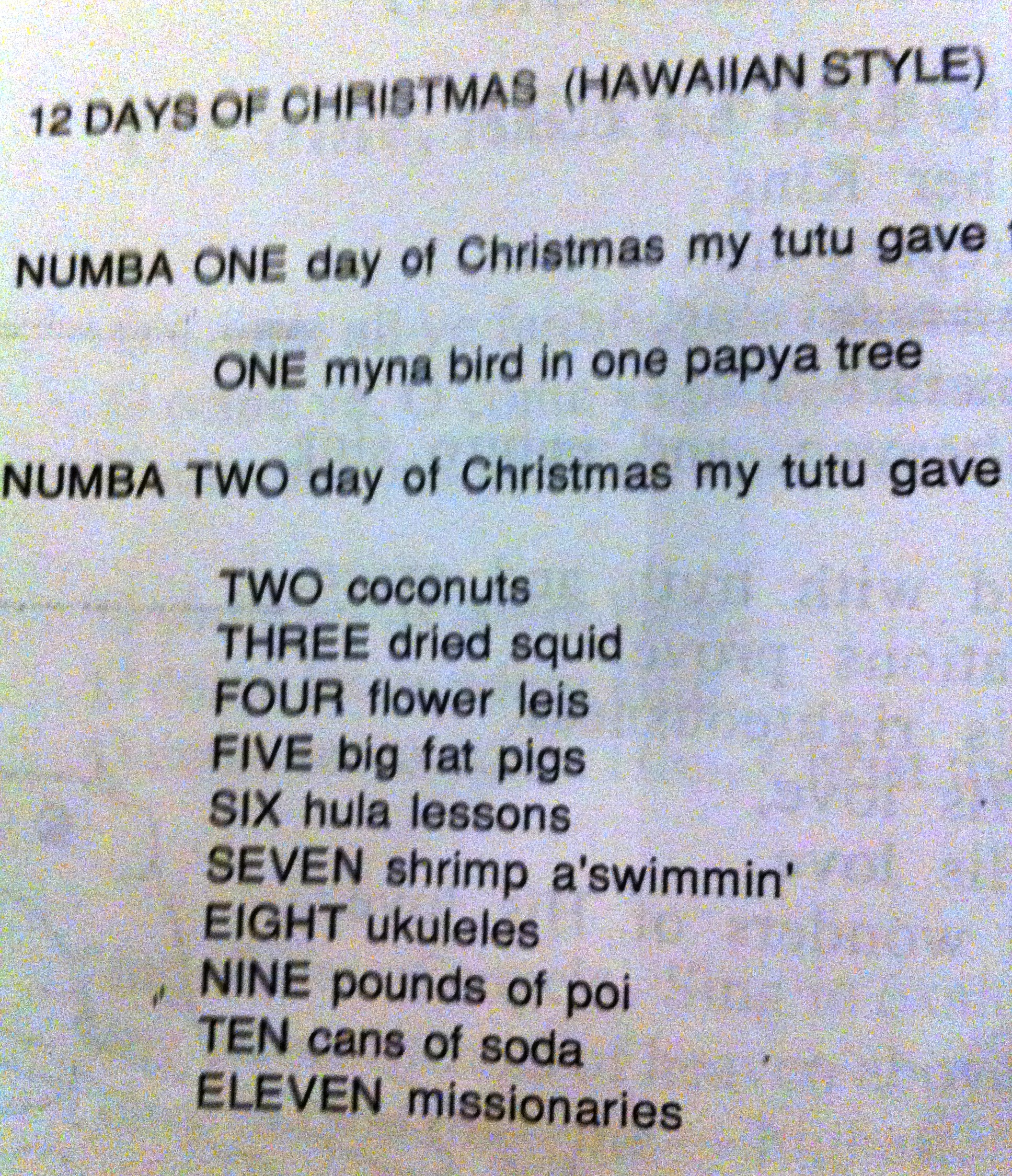 12 days of christmas - 12 Days Of Christmas Hawaiian Style