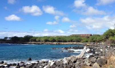 looking at cove from Mahukona beach