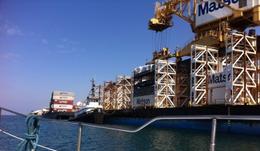 ship loading Matson containers