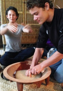 squeezing the kava bag 2