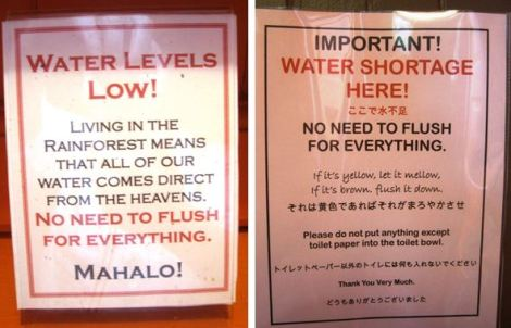 don't flush signs