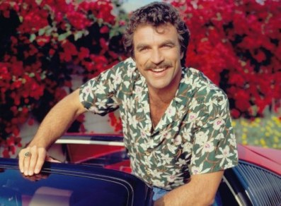 Actor Tom Selleck as Magnum wearing an Aloha Shirt. (Photo by CBS via Getty Images)