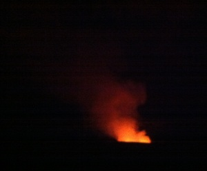 Typical view of Halema'uma'u Crater on a clear night, prior to the lava lake rising.