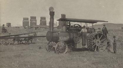 Steve Graycarek's (my maternal grandfather) threshing machine. 1920's.