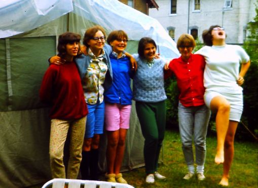 Part of my gang of friends at a 9th grade sleep-over. Mary tickled me just as the picture was snapped.