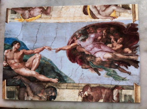Photo of a postcard from the Sistine Chapel