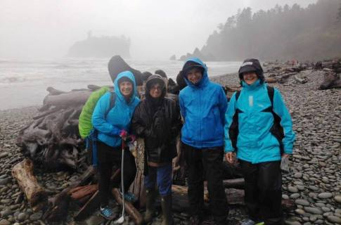 Kalli, Debbie, Rebecca and Tracey at Ruby Beach in the rain.