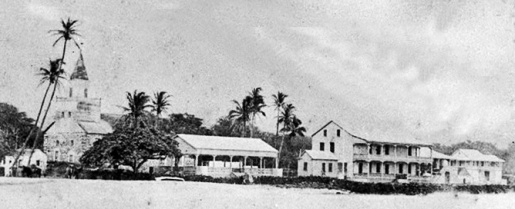 Kailua-Kona_Circa_1883 with palace and church