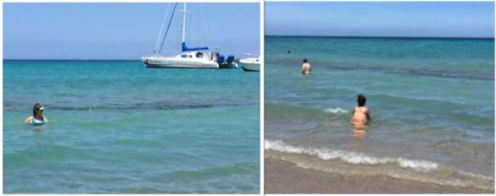 Before swimming in A-Bay, check tide. During high tide (left) there's room to swim in front of the reef. During low tide (right) there isn't.