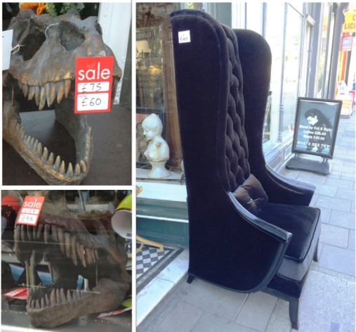 Dinosaur heads and cool chairs in quirky shops