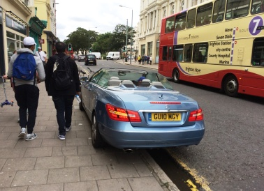 parking on the sidewalk in Hove