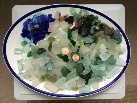 sea glass found at Lyme Regis, UK