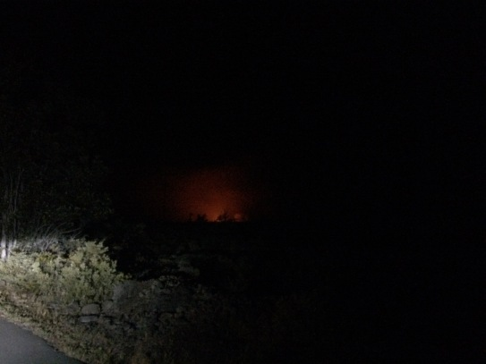 glow from Halema'uma'u Crater 12 miles away