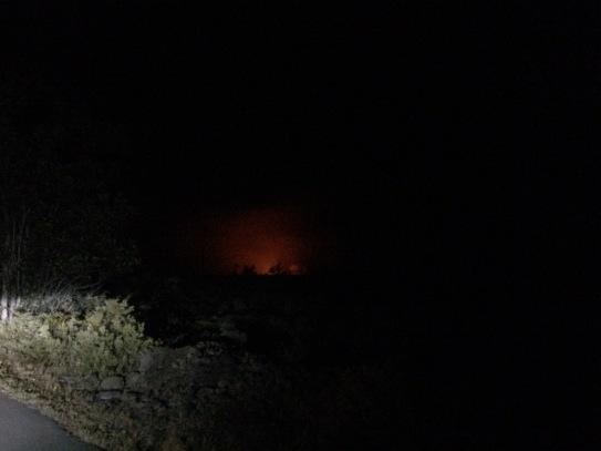 glow from Halema'uma'u Crater 12 miles away